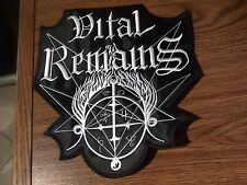 VITAL REMAINS,SEW ON WHITE EMBROIDERED LARGE BACK PATCH