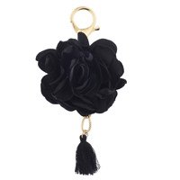 Lux Accessories Gold Tone and Black Rose Flower Fabric Tassel Bag Charm Keychain