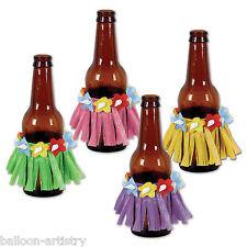 4 Tropical Hawaiian Luau Drink Can Bottle Wraps Grass HULA SKIRT Decorations