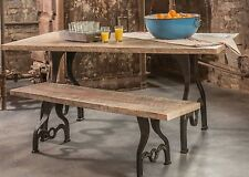 4 Rustic Table Leg Base Cast Iron Industrial Reclaimed Dining Table & Bench