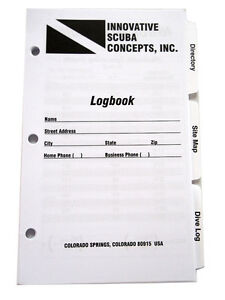 Log Book Binder Replacement Pages 3 Ring Scuba Diving Dive Set Tabbed LB0260