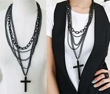Vintage Retro Multilayer Womens Cross Pendant Long Chain Charm Necklace Gift DIS