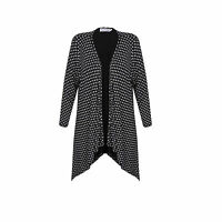 New Ladies Women Black Print Edge To Edge Waterfall Cardigan Plus Size 16-24