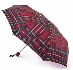 Joules red Tartan umbrella by Fulton.