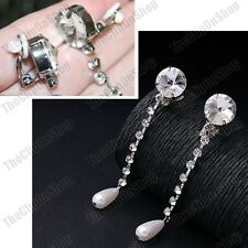 "CLIP ON 3""long CRYSTAL silver rhinestone PEARL DROP EARRINGS retro vintage glass"