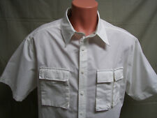 Reel Legends Mens Shirt Size XL Button Front Short Sleeve White