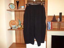 MOYURU BLACK STRETCH WOOL JERSEY WIDE LEG HAREM CULOTTES BAGGY PANTS-S,8-UK