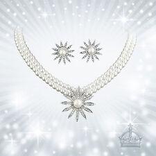 Halskette Perlen Ohrstecker 2tlg.Set Brautschmuck Tracht Dirndl Oktoberfest HZ46