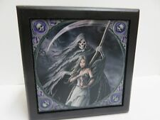 "Anne Stokes Fantasy Art Tile Wooden Box ""Summon the Reaper"" Black w/Lining"