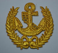 GOLDEN ANCHOR NAUTICAL CREST Embroidered Iron Sew On Cloth Patch Badge  APPLIQUE