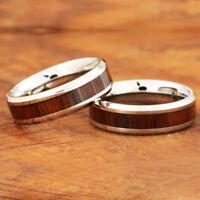6mm Koa Wood Ring Stainless Steel Wedding Ring Beveled Edge SLR6112