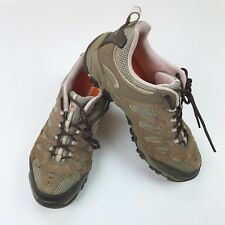 Merrell Womens Light Brown Leather Casual Hiking Trail Sneaker Vented Shoes Sz 9
