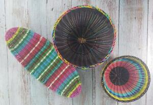 French Bull Hand Woven Poly Wicker Rustic Baskets & Gondola ( Set of 3 )