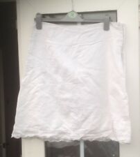 JANE NORMAN WHITE LINEN MIX KNEE LENGTH SKIRT - SIZE 12