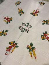 Vintage Retro Round Christmas Tablecloth Kitsch Santa/Candles