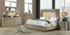 Transitional Style Light Brown Finish 5 piece Bedroom Set w. King Size Bed ICAR
