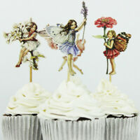 24PCS Birthday Lovely Fairy Cake Toppers Party Cupcake Dessert Decoration Topper