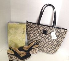 J Renee Neely Raffia Black Patent Leather Tote Handbag & Wedge Peep Sandals 9.5