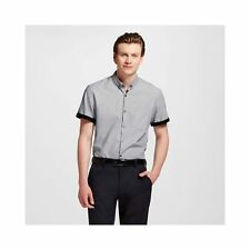 New Men's Mossimo Gray Linen Short Sleeve Button Down Shirt Slim Fit Small