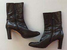 7 1/2 B Boots Cole Haan High Heel Above Ankle Side Zip Brown Snakeskin Texture
