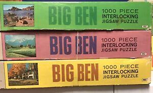 LOT of 3 Vintage MB BIG BEN 1000pc Puzzles (1968) Titles Below
