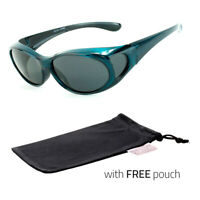 Polarized Sunglasses cover put wear over Prescription Glasses fit driving Blue
