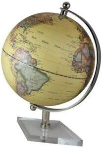 Kleiner Globus - mit Messing, vernickelt H 20 cm- Fuß Acryl- Farbe beige