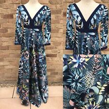 Vtg Maxi Dress UK 6 Blue Tropical Boho Hippie Bohemian Blogger Trend Prairie