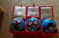 "3 ""LI BIEN"" SNOWMAN COUPLE Reverse Inside Painting Glass Christmas Ornaments"