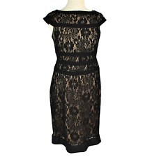 Adrianna Papell Women 6 Black Lace Cocktail Dress Fitted Beige Lining Sleeveless
