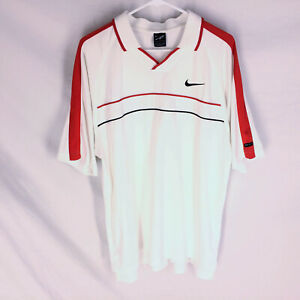 Vintage Nike Andre Agassi Tennis Mens Shirt Pullover White Red Size Large