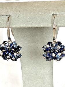 Effy 925 Sterling silver Splash Sapphire Flower Earring/$610//New
