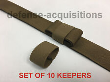 """1"""" Mil-spec Elastic Webbing Strap Keepers - Coyote Brown - 10 Pack"""