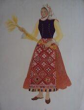GRAVURE EN COULEUR COSTUME FEMME DE DOBROUDJA BULGARIE