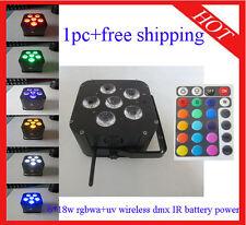 6*18W RGBWA+UV Led Par Light Wireless DMX512 IR Battery Power 1pc Free Shipping