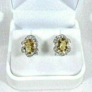 4.02ct Natural Citrine & White Topaz Flower Sterling Silver Omega Back Earrings