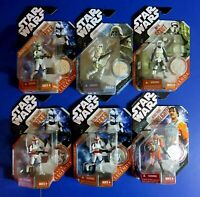 SET OF 6 ~ 2007 STAR WARS ACTION FIGURES w COINS Clone Trooper Rebel Scout ~ NEW
