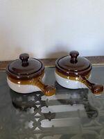 2 Vintage French Onion Soup Brown Ceramic Crock Stoneware Pot Bowl w/ Lid Handle