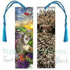 HEDGEHOG BOOKMARK w/TASSEL Fun Book ART Card Figurine Ornament-For Kids & Adults