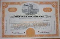 SPECIMEN Stock Certificate: 'Western Air Lines, Inc.' - Airline/Aviation