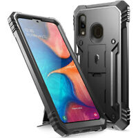 Samsung Galaxy A20 Case w/Kick-stand,Poetic Dual Layer Shockproof Cover Black