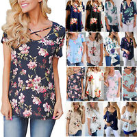 Women's Casual Short Sleeve Floral Boho Blouse Tops Party T-Shirt Tee Plus Size