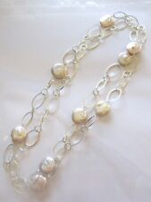 Fresh Water Pearl Necklace silver color oval links- white pearls-42""