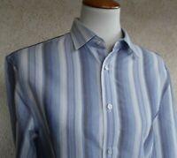 Men's Armani Exchange A/X Blue Striped Cotton Shirt Size Small Italian Fabric