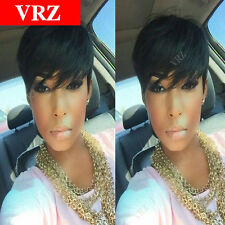 VRZ Short Brazilian Remy Hair Wig Pixie Cut Human Hair Wigs with Bang Best Wigs