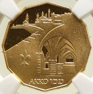 1986 ISRAEL Jerusalem AKKO HARBOR Vintage Gold 5 New Shekels NGC Coin i95020