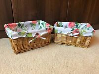 2x Small Vintage Country Wicker Baskets Floral Tartan Rattan Storage Lining Cute