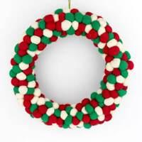 Handmade Felt Ball Wreath Home Decoration Christmas Wreath Felted Pom Pom Decor