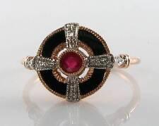 LOVELY 9CT 9K ROSE GOLD RUBY ONYX  DIAMOND ART DECO INS RING FREE RESIZE
