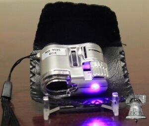 Mini Coin Inspection Microscope 60X Adjustable Focus Magnifier Strike Mint Error
